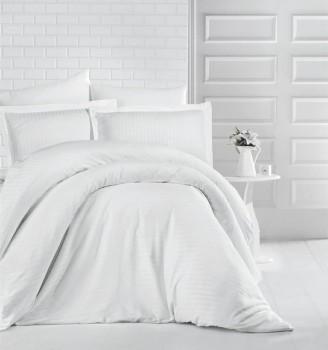 Lenjerie de pat dublu damasc gros culoarea alb