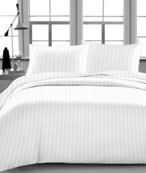 Lenjerie de pat dublu damasc GROS culoarea alba - dunga de 1 cm