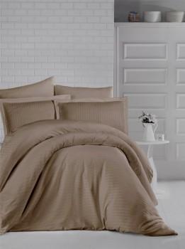 Lenjerie de pat dublu damasc gros culoarea maro