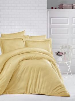 Lenjerie de pat dublu damasc gros culoarea mustar