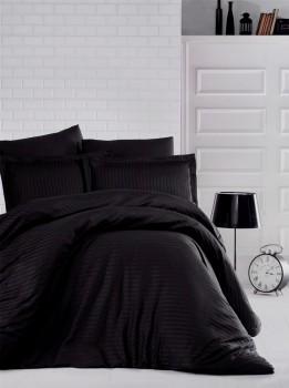 Lenjerie de pat dublu damasc gros culoarea negru