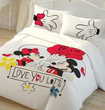 Lenjerie de pat dublu Tac Disney Minnie & Mickey LOVE YOU LOTS