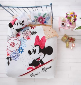Lenjerie de pat dublu Tac Disney Minnie & Mickey Watercolor
