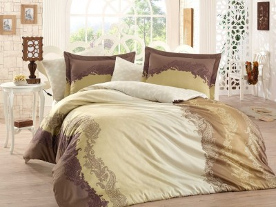 Lenjerie de pat exclusive satin de lux, Hobby Home, Filomena - Brown