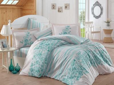 Lenjerie de pat exclusive satin de lux, Hobby Home, Serena - Turquoise