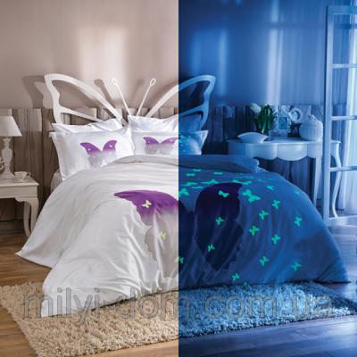 Lenjerie de pat dublu satin de lux, fosforescenta, TAC, Butterfly