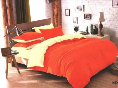 Oferta 1+1gratis: Lenjerie de pat dublu 4 piese portocaliu cu crem MX20