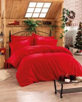 Lenjerie de pat premium satin de lux, Cotton Box, Elegant - Red