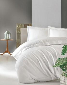 Lenjerie de pat premium satin de lux, Cotton Box, Elegant - White