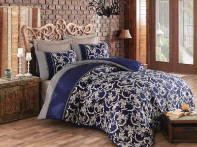 Lenjerie de pat premium satin de lux, Cotton Box, Pera - Dark Blue
