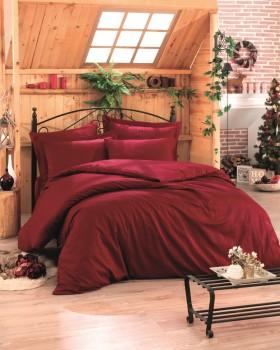 Lenjerie de pat premium satin de lux, Cotton Box, Stripe - Claret Red V2