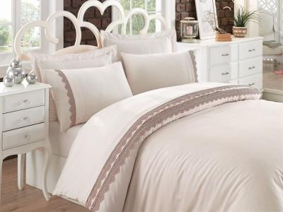 Lenjerie de pat premium satin de lux cu broderie, Cotton Box, Caren - Beige
