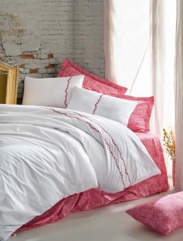Lenjerie de pat premium satin de lux cu broderie, Cotton Box, Coco - Coral