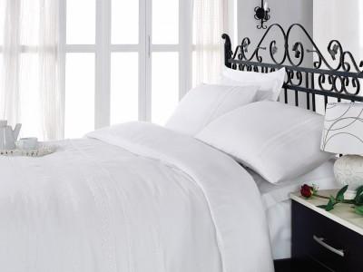 Lenjerie de pat premium satin de lux cu broderie, Cotton Box, For You - White
