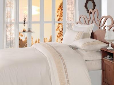 Lenjerie de pat premium satin de lux cu broderie, Cotton Box, Gold Ecru Cutie Deteriorata - Produs intact