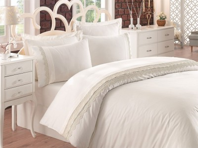 Lenjerie de pat premium satin de lux cu broderie, Cotton Box, Linetta - Ecru