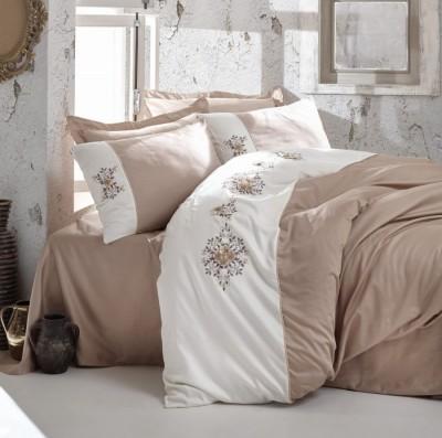 Lenjerie de pat premium satin de lux cu broderie, Cotton Box, Mira Beige