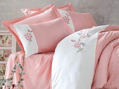 Lenjerie de pat premium satin de lux cu broderie, Cotton Box, Sante - Powder