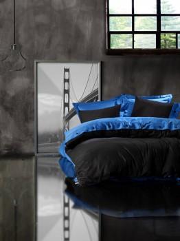 Lenjerie de pat premium satin de lux cu nasturi, Cotton Box, Blue Black
