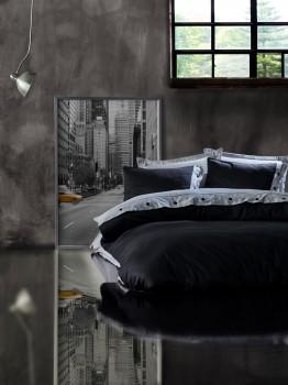 Lenjerie de pat premium satin de lux cu nasturi, Cotton Box, Grey Black