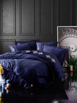 Lenjerie de pat satin de lux cu broderie, Cotton Box, King Dark Blue