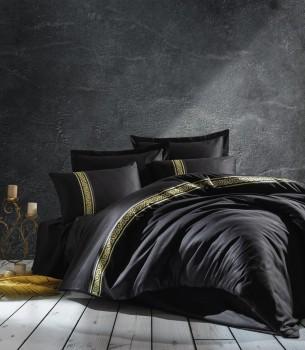 Lenjerie de pat satin de lux cu broderie, Cotton Box, Royal - Black