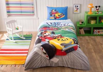 Lenjerie de pat TAC Disney 3 piese Mickey Racer