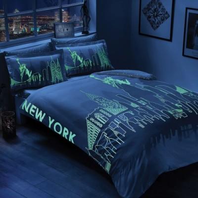 Lenjerie de pat TAC satin de lux fosforescenta Glow New York