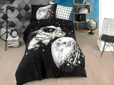 Lenjerie pat 1 persoană bumbac 100% poplin, Hobby Home, Galaxy - Black