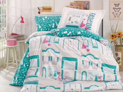 Lenjerie pat 1 persoană bumbac 100% poplin, Hobby Home, Sonia - Turquoise