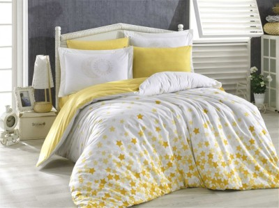 Lenjerie pat 1 persoană bumbac 100% poplin, Hobby Home, Star's - Yellow