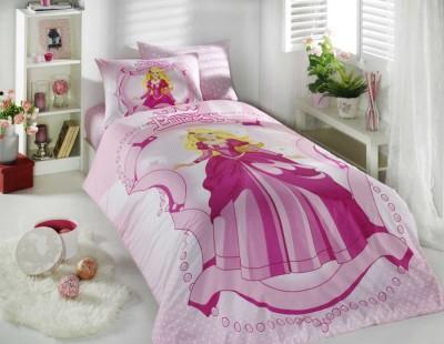 Lenjerie pat 1 persoana bumbac 100% ranforce Princess Pink, Hobby Home