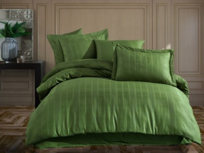 Lenjerie pat jacquard, Exclusive Satin, 6 piese, Hobby Home, Ekose Verde