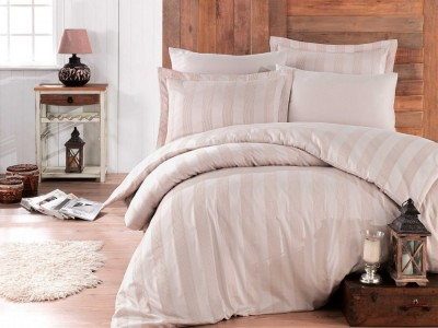 Lenjerie pat jacquard, Exclusive Satin, 6 piese, Hobby Home, Wafel Rock