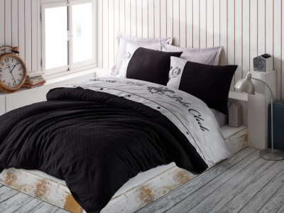 Lenjerie pat pentru 2 persoane Beverly Hills Polo Club, bumbac satinat, cod 105 Black