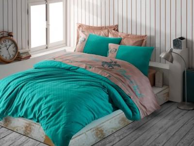 Lenjerie pat pentru 2 persoane Beverly Hills Polo Club, bumbac satinat, cod 105 Mint