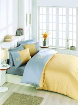 Lenjerie pat pentru 2 persoane Beverly Hills Polo Club, bumbac satinat, cod 106 - Grey, Yellow