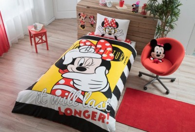Lenjerie de pat copii, bumbac 100, TAC Disney 3 piese, Minnie Selfie