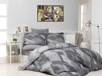 Lenjerii de pat ranforce, Bahar Home, Mosaic - Grey