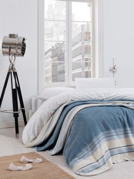 Patura bumbac si acryl 180x220cm, Eponj Home, Stripe Blue