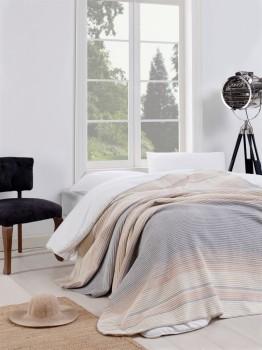 Patura bumbac si acryl 180x220cm, Eponj Home, Stripe Grey