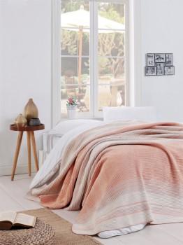Patura bumbac si acryl 180x220cm, Eponj Home, Stripe Powder