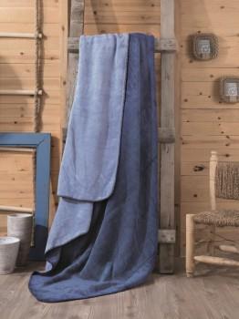 Patura bumbac si acryl 200x220cm, Cotton Box, Albastru-Bleu