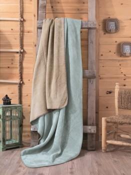 Patura bumbac si acryl 200x220cm, Cotton Box, Bej/Verde