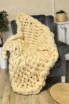 Patura cu fire gigant din lana merinos, 100x150cm, crem