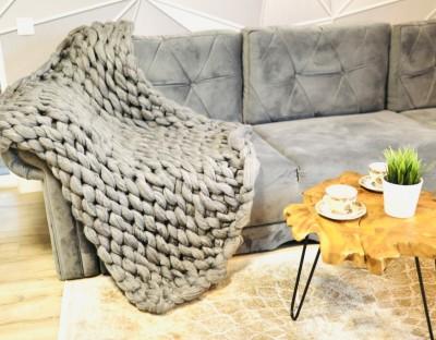 Patura cu fire gigant din lana merinos, 100x150cm, gri