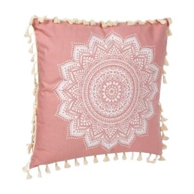 Pernuta decorativa cu ciucuri roz, dimensiune 43x43 cm, Powder