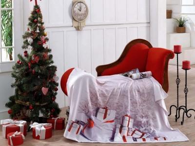 Pled din bumbac cu motive Craciun 125x150cm, Colors of Fashion, Gifts