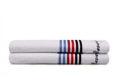 Set 2 prosoape bumbac 100%, Beverly Hills Polo Club, Alb 70x140cm, cod 6 Striat