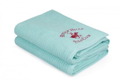 Set 2 prosoape bumbac 100%, Beverly Hills Polo Club, Bleu 86x168cm, cod A- 153